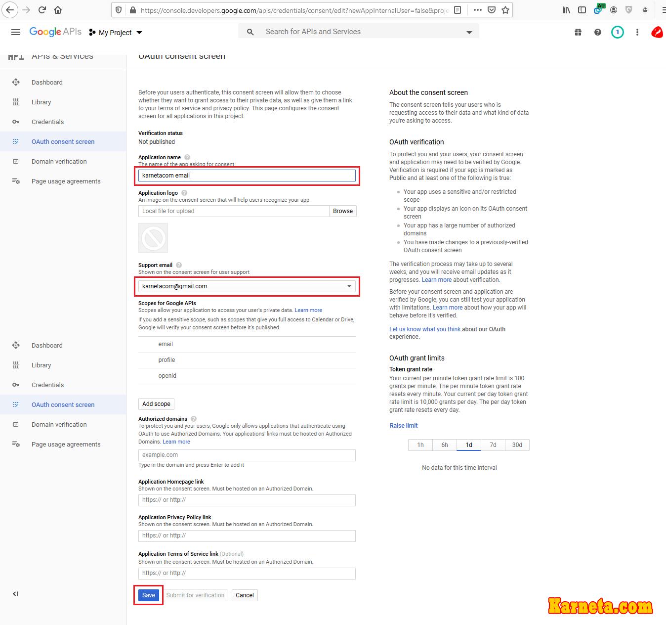 تنظیمهای کنسول گوگل